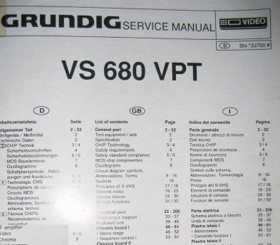 Service Manual - VS 680 VPT Hifi Videorecorder