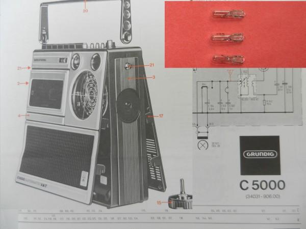 C 5000 Lämpchen SET für Radiorecorder GRUNDIG