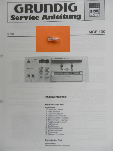 MCF 100 GRUNDIG Display Lämpchen