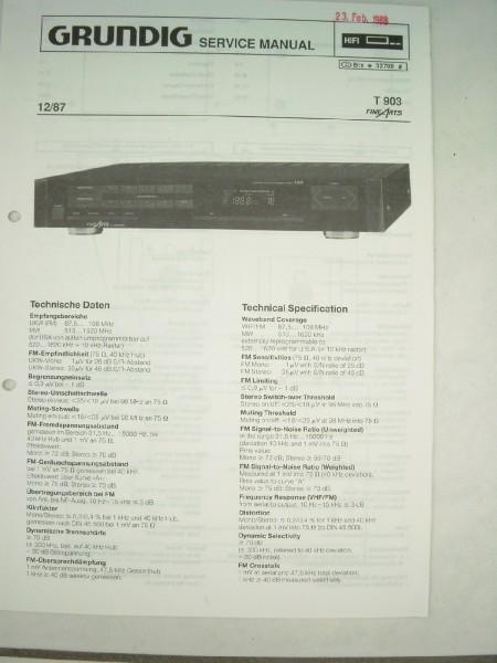Service Manual - T 903 Hifi Fine Arts Tuner
