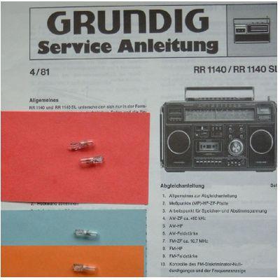 RR 1140 SL Lämpchen SET für Radiorecorder GRUNDIG