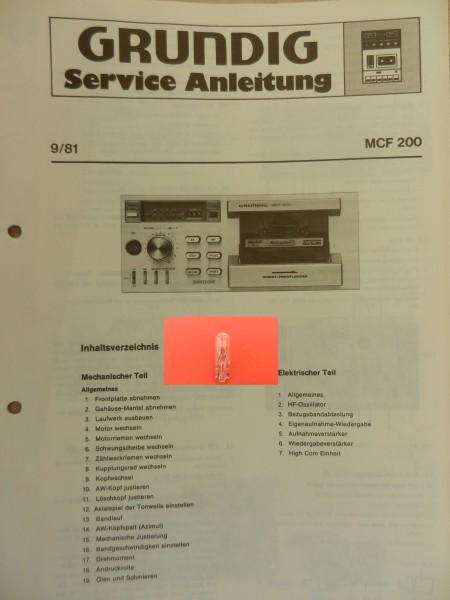 MCF 200 GRUNDIG Display Lämpchen