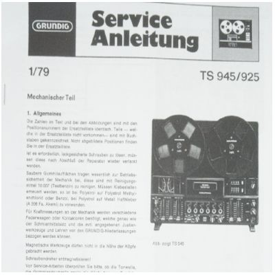 Service Manual TS 945 Hifi Tonbandgerät