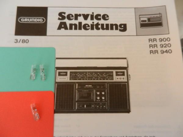 RR920 RR940 RR900 Lämpchen SET für Radiorecorder GRUNDIG