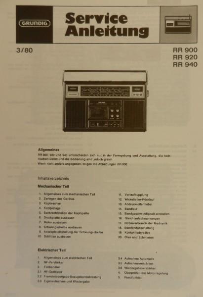 Service Manual - RR 940 Radiorecorder