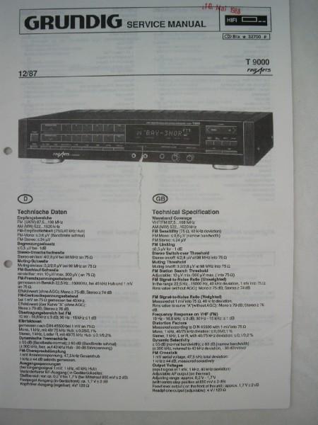 Service Manual - T 9000 Hifi Tuner