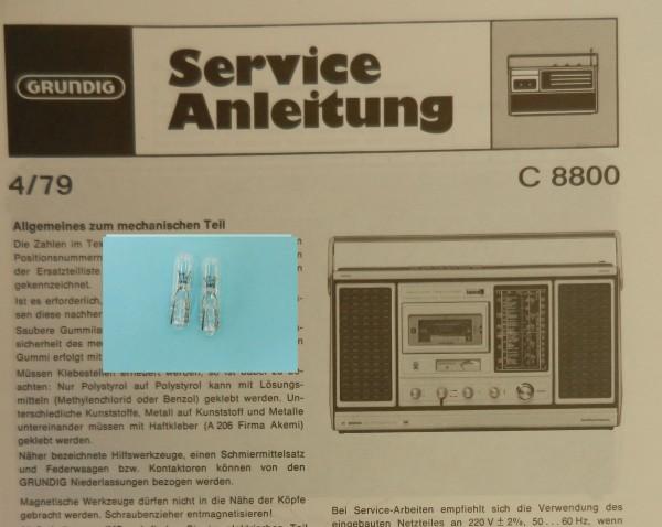 C 8000 Lämpchen SET für Radiorecorder GRUNDIG