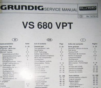 Service Manual - VS 680 VPT Hifi Videorecorder