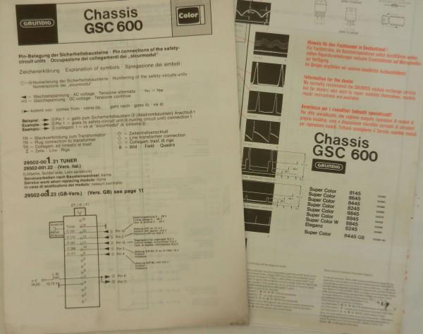 GSC 600 Schaltplan für Super Color 8145 bis 8445 mit Blockschaltbild