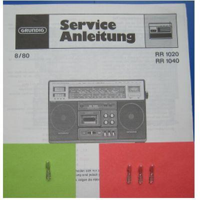 RR 1020 / 1040 Lämpchen SET für Radiorecorder GRUNDIG