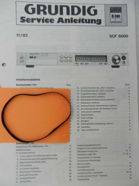 SCF6000 SCF 6000 Grundig Capstan Riemen