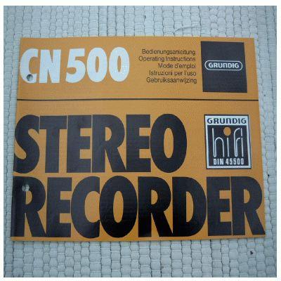 Bedienungsanleitung CN 500 Cassettendeck