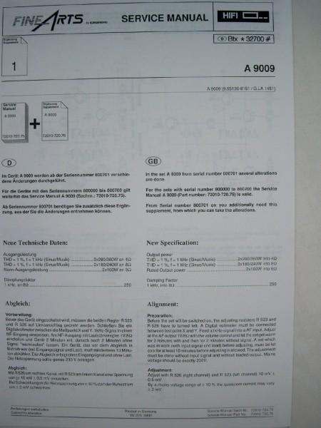 Service Manual - A 9009 Ergänzung für Hifi Verstärker