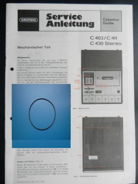 C403 C405 C411 C415 C430 Zählwerk Riemen Cassettenrecorder GRUNDIG