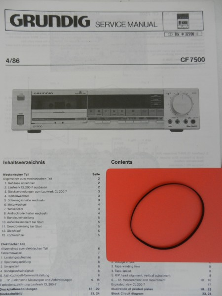 CF7500 CF 7500 GRUNDIG Capstan Flachriemen