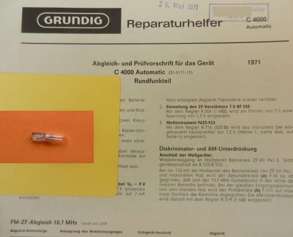 Lämpchen für C 4000 Radiorecorder GRUNDIG