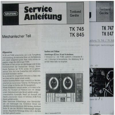 Service Manual TK 745 / TK 845 Hifi Tonbandgerät