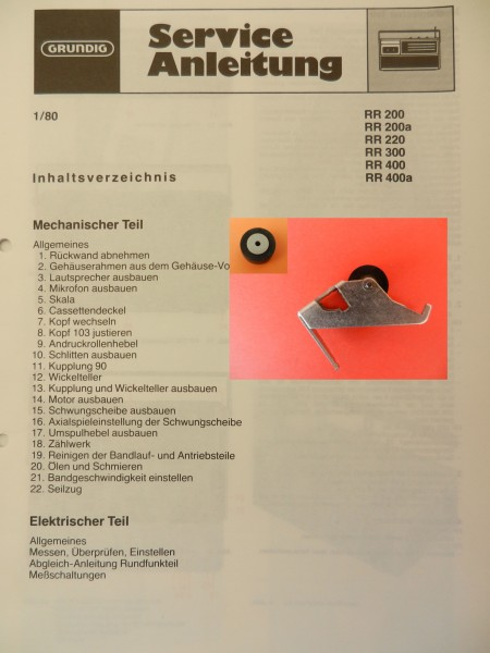 Tonrolle für RR200 RR220 RR300 RR400 Radiorecorder von GRUNDIG
