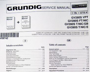 Service Manual - GV 280 S VPT Hifi Videorecorder