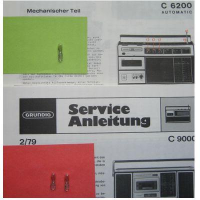 C 9000 Lämpchen SET für Radiorecorder GRUNDIG