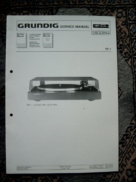 Service Manual für TT1 Fine Arts Plattenspieler