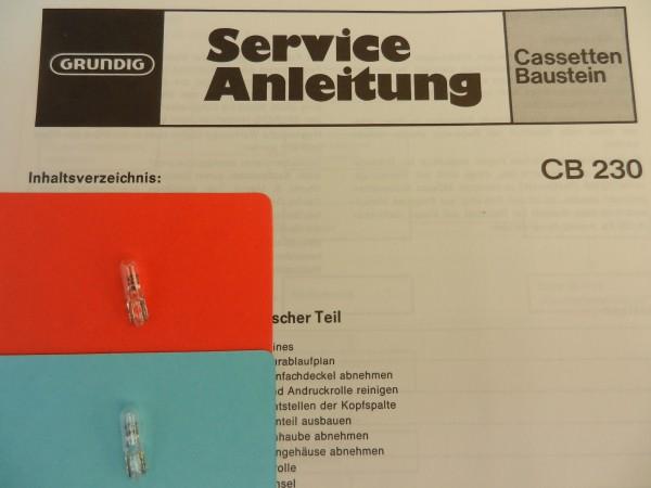Lämpchen für Tape CB230 CB 230 TP GRUNDIG SET
