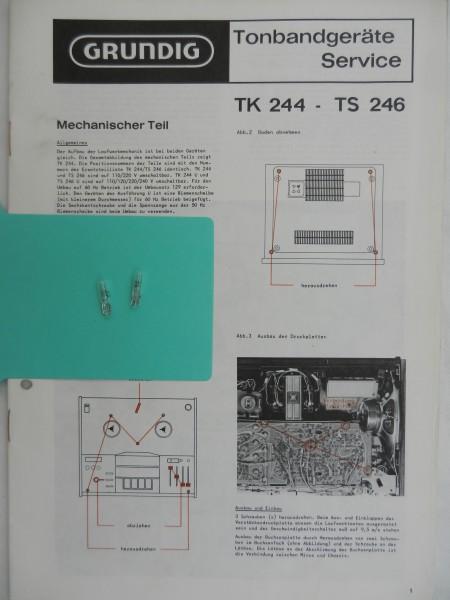 TK 244 / TS 246 Lämpchen SET für Tonbandgerät GRUNDIG
