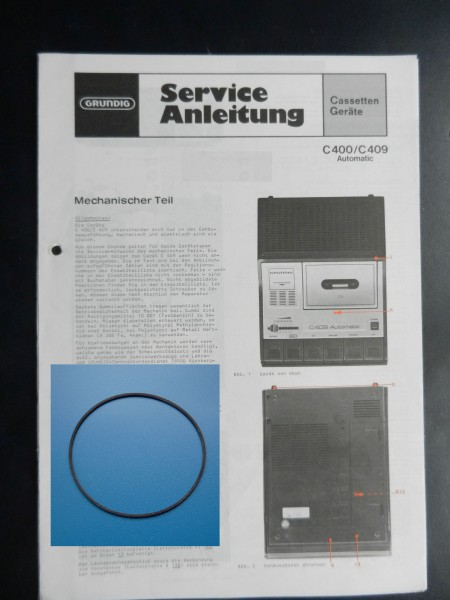 C400 C409 Antriebsriemen Cassettenrecorder GRUNDIG