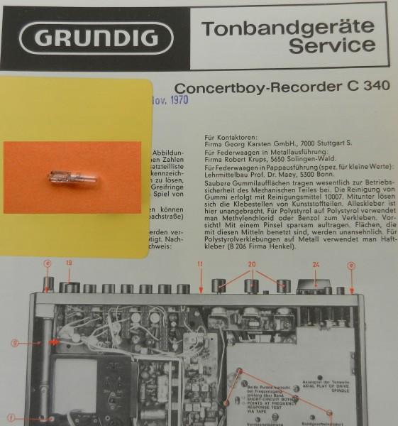 C 340 Lämpchen für Concert Boy Recorder GRUNDIG