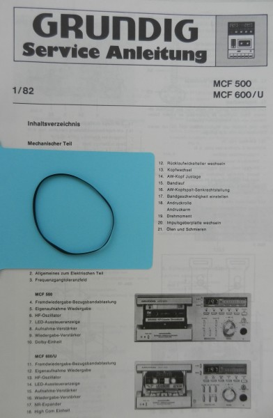 MCF500 MCF600 Capstan Flachriemen GRUNDIG
